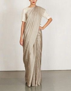 Grey Summermoon Silk Jari Saree-ANAVILA