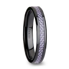 Womens Ceramic Rings - LILAC Beveled Black Ceramic Ring with Purple Carbon Fiber Inlay - 4mm & 6mm