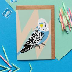 Ben the Budgie greeting card - Lorna Syson. Fun bird on a geometric background. Printed in the UK on recycled high quality card Blue Budgie, Brown Envelopes, Bird Cards, Geometric Background, Budgies, Writing Paper, Bird Design, Cool Cards