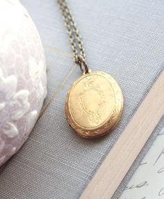 Locket Necklace Oval Keepsake Pendant Gold Raw by apocketofposies
