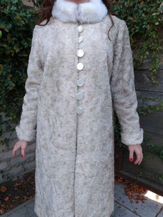 Vintage 50's 60's Coat White Faux Fur Long Dress Coat. - pinned by pin4etsy.com