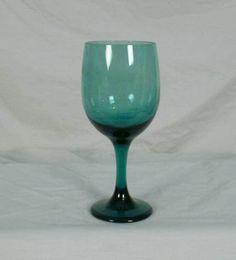 Libbey Rock Sharpe Glass Premiere Dark Green Pattern Water Goblet bfe1132 #LibbeyRockSharpeGlass