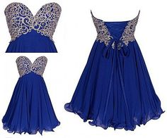 Short Royal Blue Applique Bead Chiffon Prom Dress by dressseller,