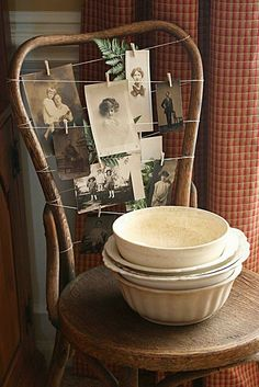 Using the back of a chair as a way to display jewelry, photos, small items.