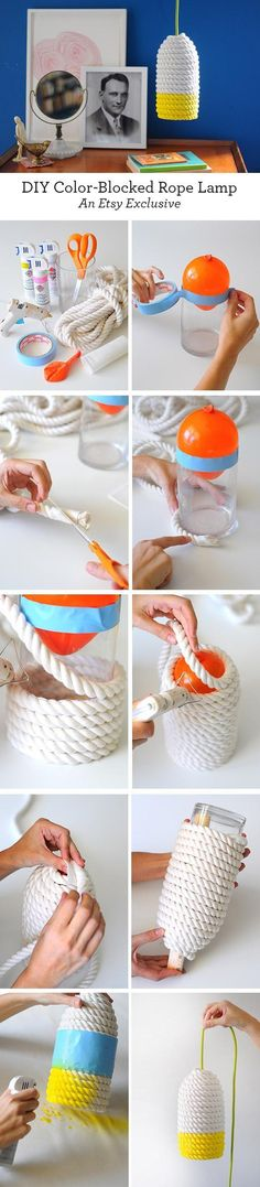 All you need to make this bright #DIY lampshade are paint, hot glue, and a little rope.