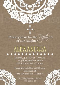 Doily Brown Baptism or First Communion Invitation