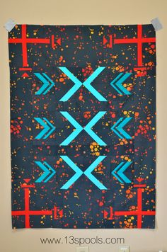 Tribal baby quilt made with alison glass handcrafted modern batiks