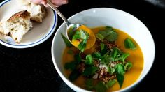 Pumpkin soup with coconut, lemongrass and chilli  An old standby with a spicy twist is perfect for anyone under the weather.