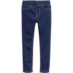 Denim Leggings $9.99 ($9.99) via Polyvore featuring pants, leggings, blue pants, leggings jeggings, denim jean leggings, elastic waist denim leggings and blue jean leggings