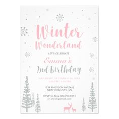 Winter Wonderland 2nd Birthday Invitation Girl Card - birthday invitations diy customize personalize card party gift