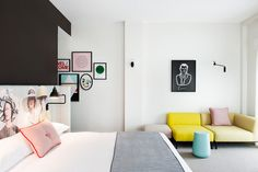 This beautiful, bright bedroom in Sydney's Ovolo Hotel uses blush and light turquoise to showcase the softer side of chartreuse. The space is clean, crisp, and relaxing at the same time. What more could you want in a hotel room? Chartreuse Decor, Design Your Own Bedroom, Modern Hotel Room, Hotel Room Design, Traditional Bedroom, Minimalist Bedroom, Commercial Interiors, Of Wallpaper, Wallpaper Magazine