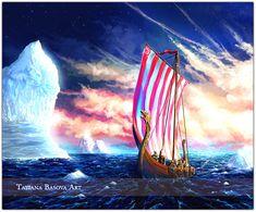 Drakkar Viking Iceberg Art Print.  Only the fire of Spirit can melt the eternal ice...