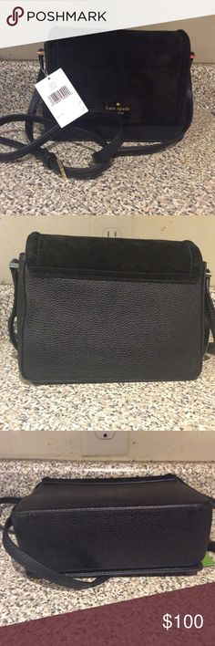 Kate Spade Bag Black Kate Spade leathers and suede Shoulder Bag. NWT . Great Condition . Purse just as shown in pictures or money back guarantee . kate spade Bags Shoulder Bags