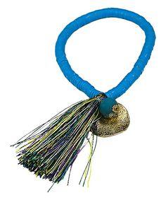 Turquoise Shell & Goldtone Charm Tassel Bracelet