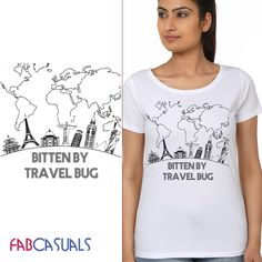 Women Round Neck Printed Short Sleeves T-shirt. BUY IT HERE: www.fabcasuals.com   #onlineshopping #India #shopnow #tshirts #travel