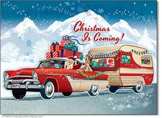 Santas Vintage Camper Christmas Cards, Package of 8