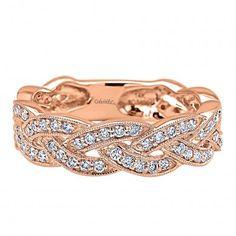 0.55 ct - Ladies' Ring  14k Pink Gold Diamond Stackable  /LR5673K45JJ-IGCD