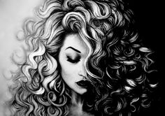 Afro art, croquis, black women art, black art, black and white sketches Cool Art Drawings, Pencil Art Drawings, Realistic Drawings, Art Drawings Sketches, Drawing Art, Drawing Tips, Hair Drawings, Drawing Stuff, Drawing Techniques