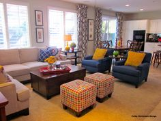 """Get the Look of This Colorful """"Before and After"""" Family Room Plantation shades (blinds) work with long curtains in a modern pattern"""