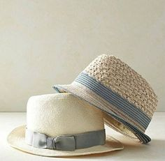Pretty sure I'm not a pull off a fedora type, but these are VERY cute. Blue Cream, Blue And White, Moda Fashion, Womens Fashion, Love Hat, Cool Hats, Mode Style, Jumpsuit, How To Wear