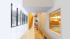 Timber Staircase, Stairs, Rehabilitation Center Architecture, Sustainable Building Materials, Commercial Interiors, Cladding, Colorful Interiors, Centre, Groot