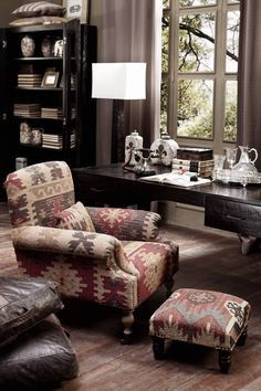 Home Office/Den/Library...love the Kilim fabric on the chair and footstool!