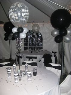 75th birthday black & white party decoration | Black and White Men's 40th Birthday Party