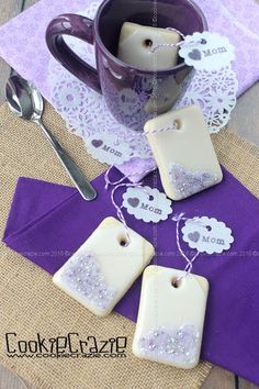 In anticipation of Mothers Day, let's plan a tea party. First, let's make some tea bag cookies. Use any rectangle cutter (or hand cut your rectangle shapes). (Here's a cute tea bag cutter from That's