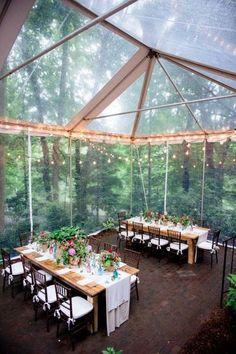 woodland wedding tent decor ideas