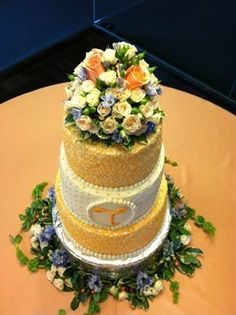 Peach and white wedding cake