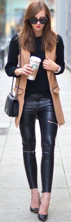 #fall #street #trends | Camel + Black