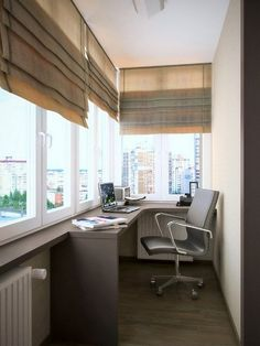 manly balcony home office with a windowsill as a desk, a comfy chair and shutter. - manly balcony home office with a windowsill as a desk, a comfy chair and shutters You are in the rig - Home Office Design, Home Office Decor, Home Decor, Office Ideas, Cozy Office, Home Office Na Varanda, Small Home Offices, Balkon Design, Balcony Furniture