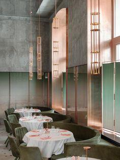restaurant concept Pink Mama Restaurant in Moscow, - restaurant Moscow Restaurant, Deco Restaurant, Restaurant Concept, Restaurant Interior Design, Home Interior Design, Exterior Design, Interior And Exterior, Restaurant Ideas, Interior Plants