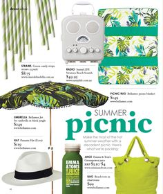 Summer picnic product page as featured in Adore Home Feb/Mar 2012 edition. www.adoremagazine.com