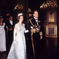 Queen Fabiola and Prince Philip during a state visit to Belgium in 1966.