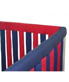 These soft Cotton Couture Teething Guards from Go Mama Go Designs tie onto your crib to protect your little one from hurting head or body, as well as from chewing on the crib. They're sized to fit your crib just right. Crib Rail Guard, Crib Rail Cover, Red Bedding, Crib Bedding Sets, Red Nursery, Nursery Decor, Baby L, Baby Cribs, Couture