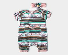 Luv these colours and the circualr pocket!!  Cotton Baby Girl Romper Set, Infant Girl Cotton Clothes, Baby Girl Summer Clothes, Baby Girl Soft Cotton Headband Set, Baby Girl Overalls