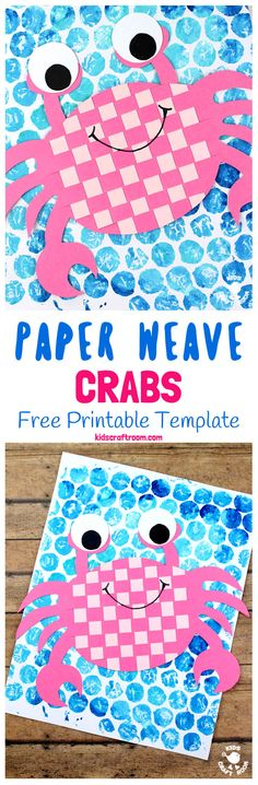 PAPER WEAVING CRAB CRAFT - Do your kids enjoy visiting the beach? We do and searching for crabs is one of our all time favourite things to do when we get there! Whether your kids are lucky enough to meet a crab in the flesh or whether they just enjoy reading about them this Paper Weaving Crab Craft is a must for Summer! (Free Printable Template) #summercrafts #crabs #papercrafts #paperweaving #weaving  #kidscrafts #craftsforkids #crab #preschool #kidscraftroom via @KidsCraftRoom