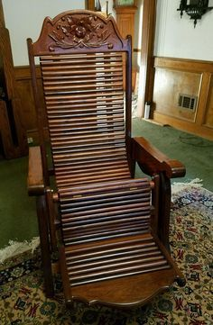 Vintage Chinese Wooden Recliner Chair