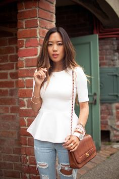 White peplum shirt!