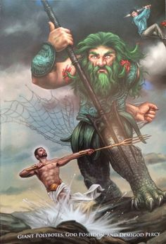 In the war against the gigantes, Poseidon rivaled against the giant Polybotes. Poseidon killed this giant by crushing him with a huge rock.