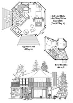Online House Plan: 1325 sq. ft., 2 Bedrooms, 2 Baths, Enclosed Pedestal Collection (PL-0302) by Topsider Homes.
