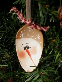 Snowman Hand Painted Vintage Silver Teaspoon Ornament via Etsy