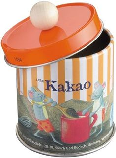 "Cocoa Tin Empty by HABA. $5.48. Materials: tin. Measurements: height 3 inches (2 3/8 without the ball handle) diameter 2.25 inches, weight 1.2 oz. Age: 3+. Made in Germany. HABA 1494 - An empty tin to ""store"" cocoa for kitchen or market play. Tin measures 2.5"" x 2.2"" diameter. Recommended for 3 years and up. Made in Germany."
