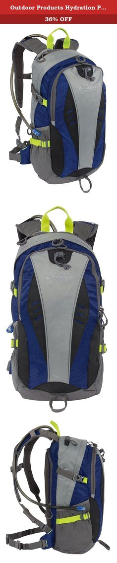 Outdoor Products Hydration Pack, Blue Depths. The Outdoor Products Hydration Pack has all the storage you need while on the go. Crafted with durable polyester/ripstop blend fabric, this pack features pockets up front for easy access, a trekking pole lashing, large main compartment, and a secure reservoir pouch in the back. Padded back panel and adjustable mesh shoulder straps add ventilation and comfort. Four side compression straps help balance and secure your load for a pleasant day on…