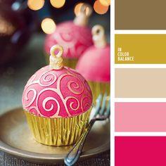 beige, color dorado oscuro, color oro, color oro oscuro, colores navideños, cremoso, escarlata, marrón, paleta de colores navideños, paleta de colores para la Navidad, rosado, selección de la combinación de colores para el Año Nuevo, tonos dorados, tonos rosados.