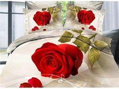 4 Conjuntos de Ropa de Cama Estampado Rosas Rojas Grandes y Adorables