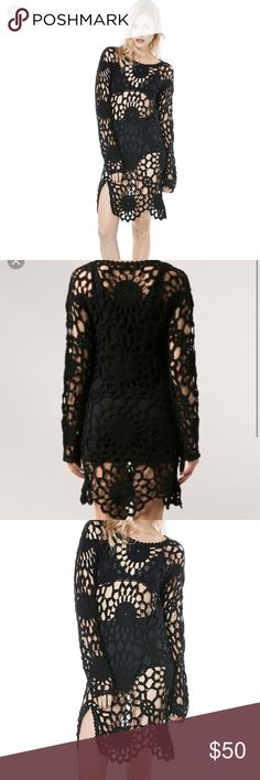 UNIF crochet Astro black dress L UNIF dress in good preowned condition size L UNIF Dresses Midi