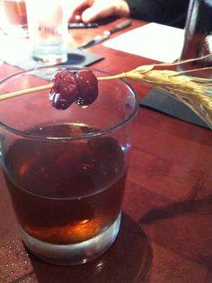 Enjoying a Manhattan in Manhattan Kansas made with Kansas whiskey.