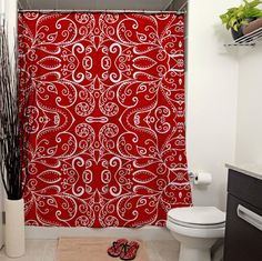 Silent Era Ruby Red Shower Curtain by JanetAnteparaDesigns